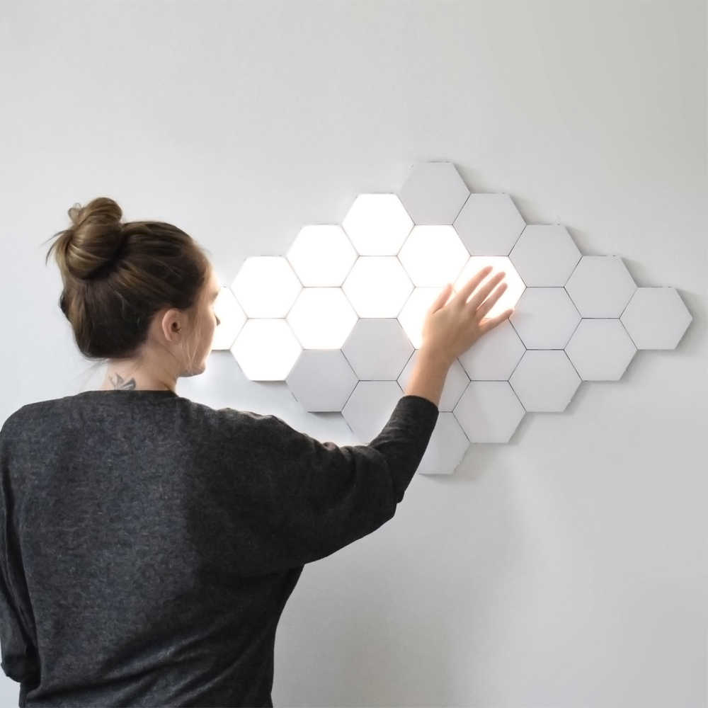 Прямая доставка квантовый светодиодный шестиугольный DIY геометрический конструктор на магнитах модульный сенсорный датчик ночник Декор настенный светильник подарки