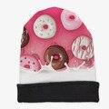 Осень Зима Новый Стиль Knited Hat Мода Забавный 3D Печати Молоко Пончик Девушка Теплые Шапочки Женская Мода Cap