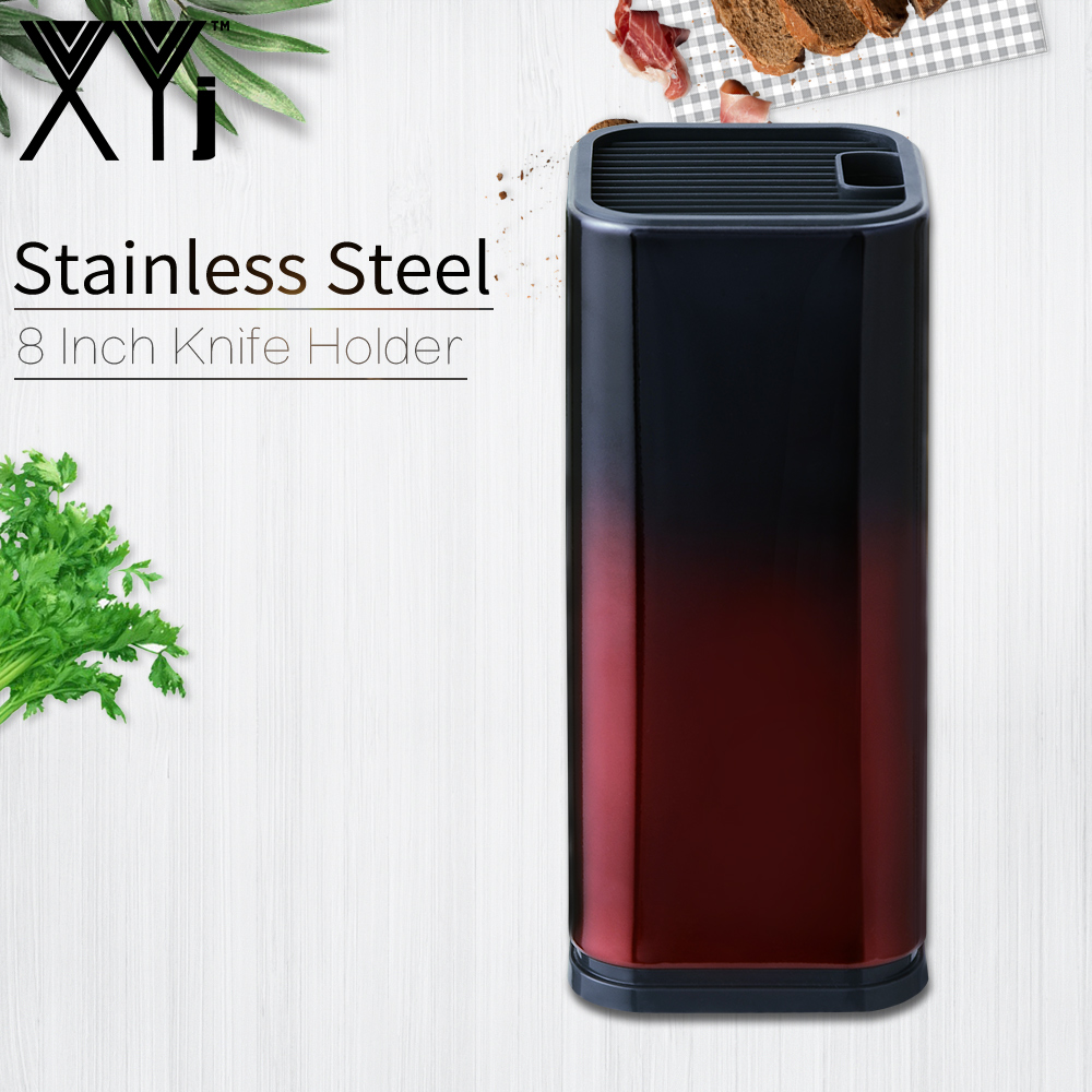 XYj 8 Inch Knife Stand Gradient Red And Black Knife Holder Large Capacity Kitchen Tool Stainless Steel Knife Holder For Sale