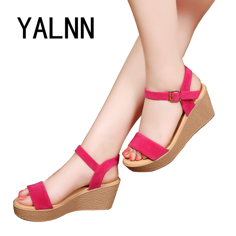 Women Sandals Pink 2017 New Summer Wedges Open Toe Fashion ...