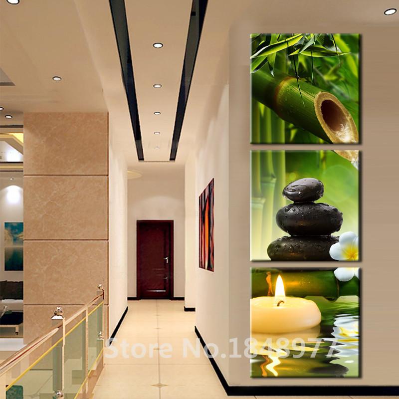 paneles de pared del arte moderno pintura al leo spa piedra de bamb velas decoracin