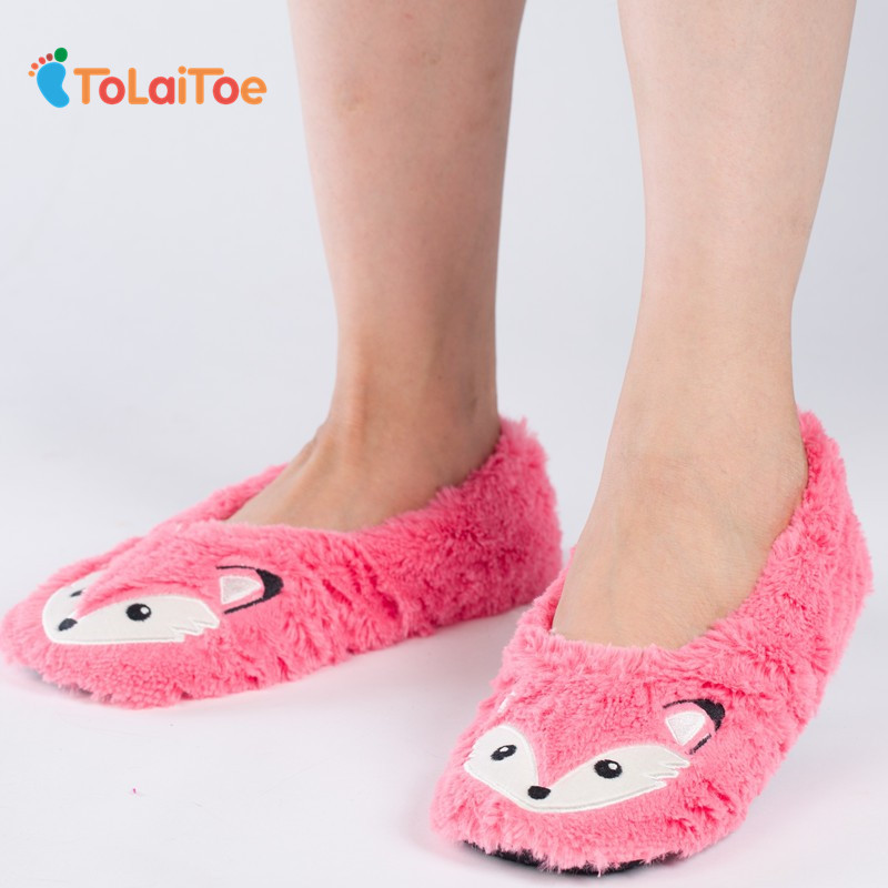 ToLaiToe Autumn winter animals fox household slippers, soft soles, floor with indoor slippers Plush Home Slippers soft plush big feet pattern winter slippers