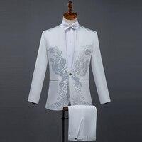 Cozimastarla Men Summer Performance Black Diamond Costumes Stand Collar Singer Host Stage White Wedding Groom Suits Top+pant+bow