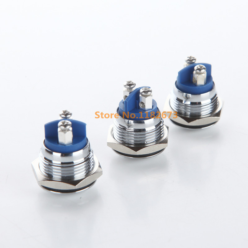 Free Shipping 50PCS 16mm Start Horn Button Momentary Stainless Steel Metal Push Button Switch Arc