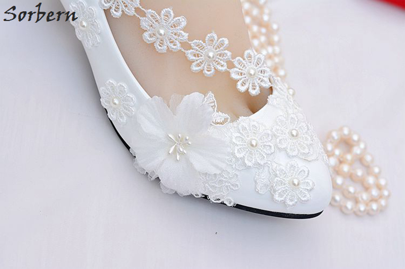 Sorbern Lace Flower Applique Bridal Wedding Shoes For Bridesmaids Crystal Beading  Womens Pumps Low Heel Ladies Shoes 2018 New-in Women s Pumps from Shoes on  ... 48931d022af8