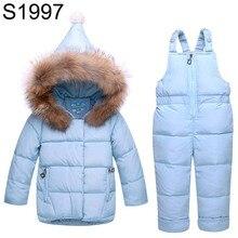 Childre Winter Clothes Boys Girls Down Coat Infant Warm Coat and Jumpsuit Clothing Suit Set Fashion Children's Winter jackets