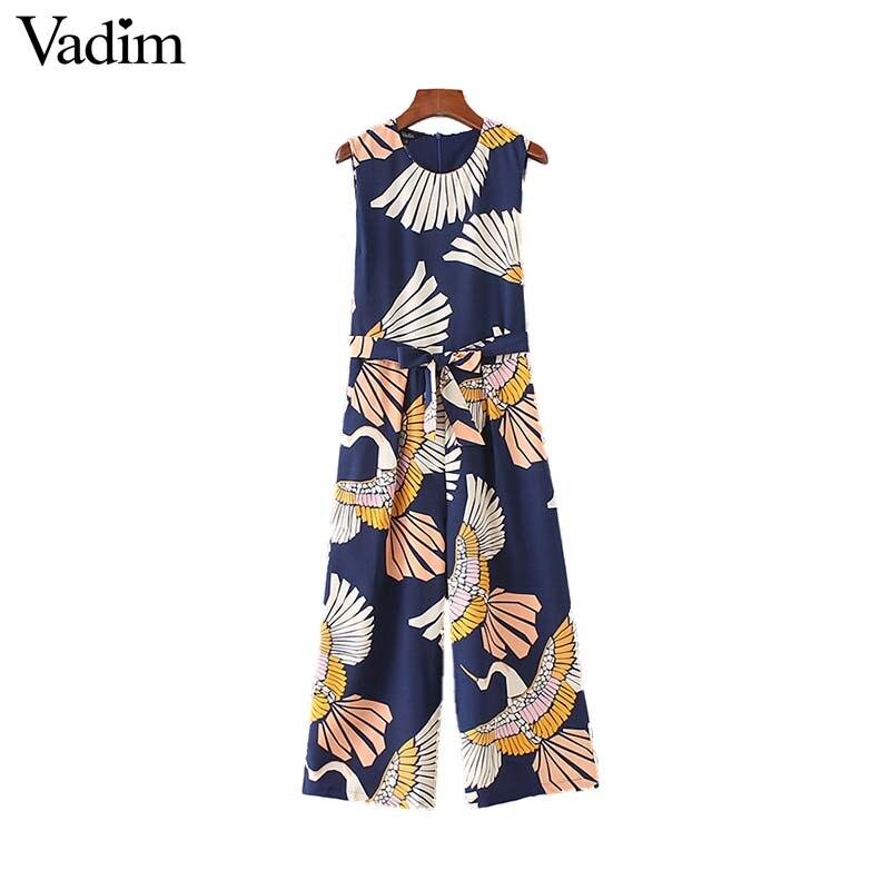 Vadim Women Cute Crane Print Jumpsuits Bow Tie Sashes Pockets Sleeveless Pleated Rompers Retro Ladies Casual Jumpsuits Ka140