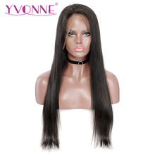 YVONNE Virgin Full Lace Human Hair Wigs With Baby Hair Brazilian Straight Wig for Women(China)