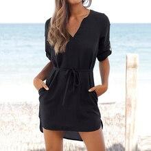 Женское пляжное платье, короткая туника, рубашки, платье Vestidos, одноцветное, v-образный вырез, сарафан, Ретро стиль, карманы, свободные, шифон, вечерние, платье