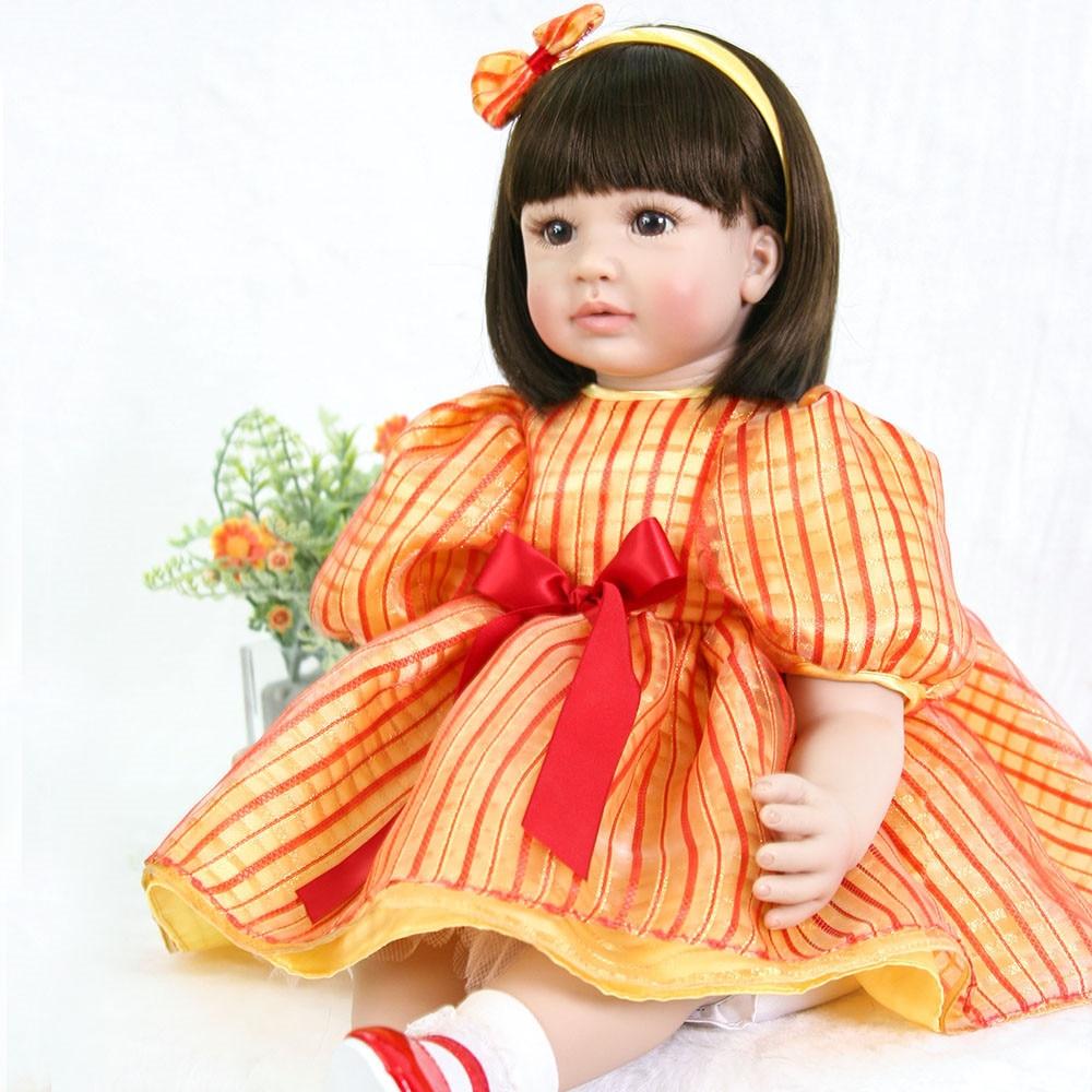 58/60cm Bebe Doll Reborn 3/4 Silicone Bonecas De Menina Girl Toy Reborn Baby Doll Gift For Children Beautiful Kids Playmate Toy