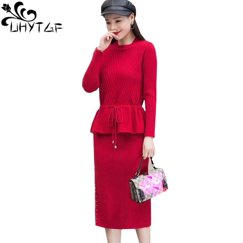 UHYTGF Новое модное осенне зимнее платье из двух частей с длинными рукавами женский