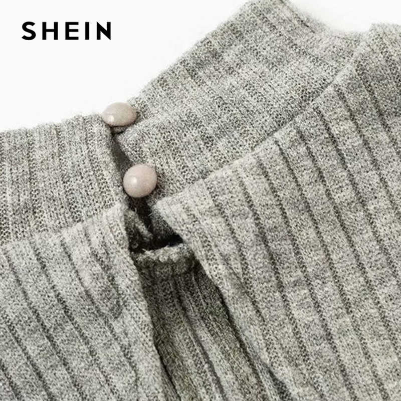 807a7b0ec ... SHEIN Grey Highstreet Open Back Knot Detail Crop Marled Knit Long  Sleeve Solid Jumper 2018 Autumn ...