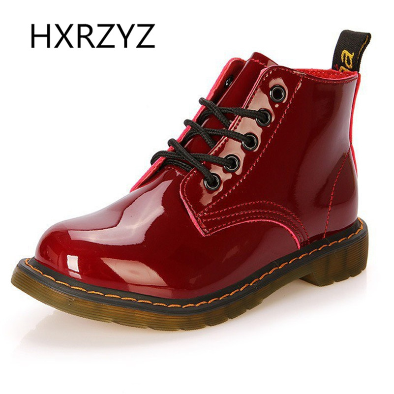 women shoes patent leather lace up ankle boots cow muscle sole spring and autumn ladies fashion