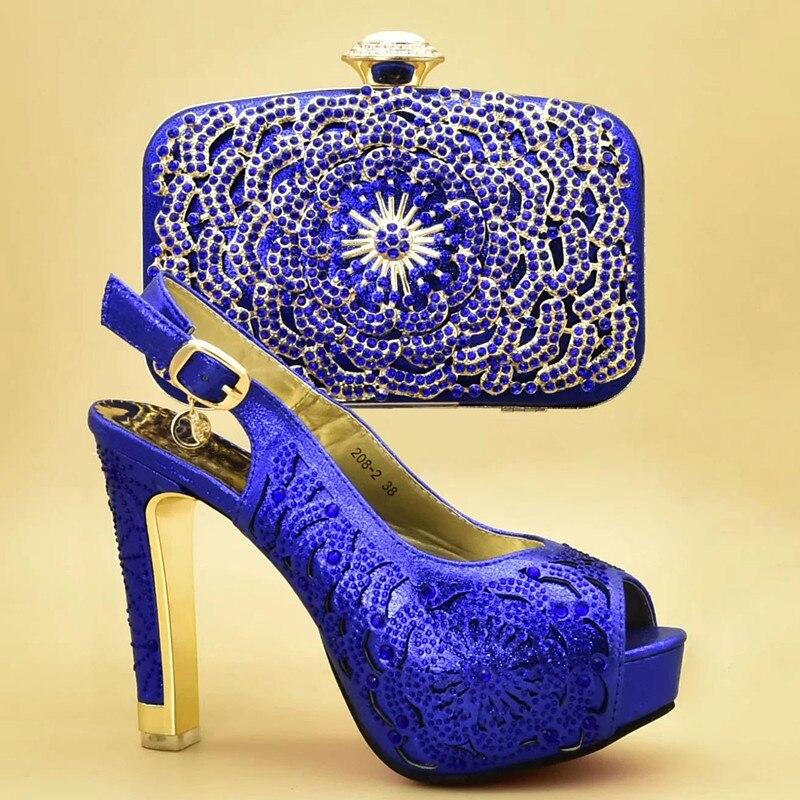 Con De Zapato Imitación púrpura Tacón Azul Alto red 2019 Bolsa A Las oro Mujeres Y Encuentro Nuevo Bolso Decorado Italiano Zapatos Último Bolsos Diamantes q7PYvwY