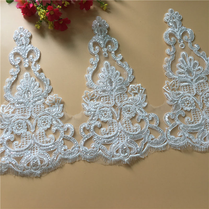 54Yards Lace Applique Sequins Embroidered Floral Lace Trim Fabric Ribbon Home DIY Decorative Wedding Sewing Craft Decoration in Lace from Home Garden