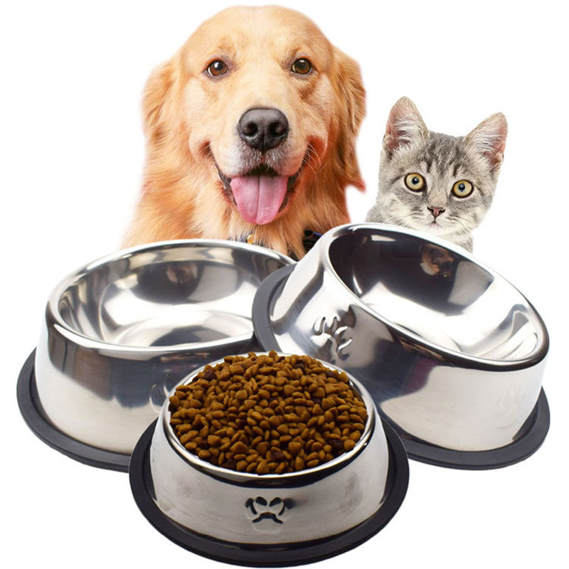 1pc Dog Bowls Food Grade Stainless Steel Dog Bowls Bacteria & Rust Resistant Non-Skid Non-Tip Natural Rubber Base image