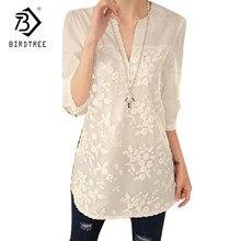 099555a8b47 Новые летние корейские женские блузки Цветочный принт блузка v-образным  вырезом из органзы с вышивкой рубашка белая кружевная бл.