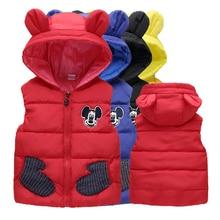 Одежда для мальчиков и девочек зимнее пальто, куртка, жилет Теплая стеганая одежда с капюшоном и мультяшным принтом для Outerwear1-5 лет, Детская качественная одежда г. Лидер продаж