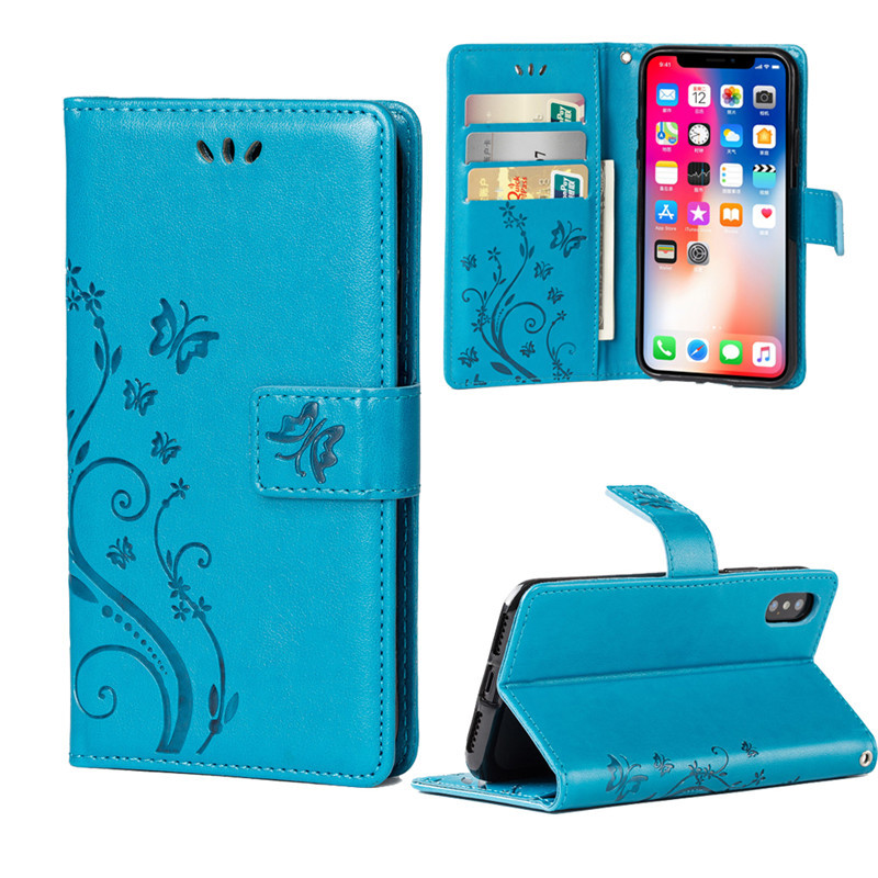 Flip Wallet PU Leather Cover Soft TPU Case Card Holder Fashion For iPhone 7 8 7Plus 8Plus X Butterfly Skin Stand Book