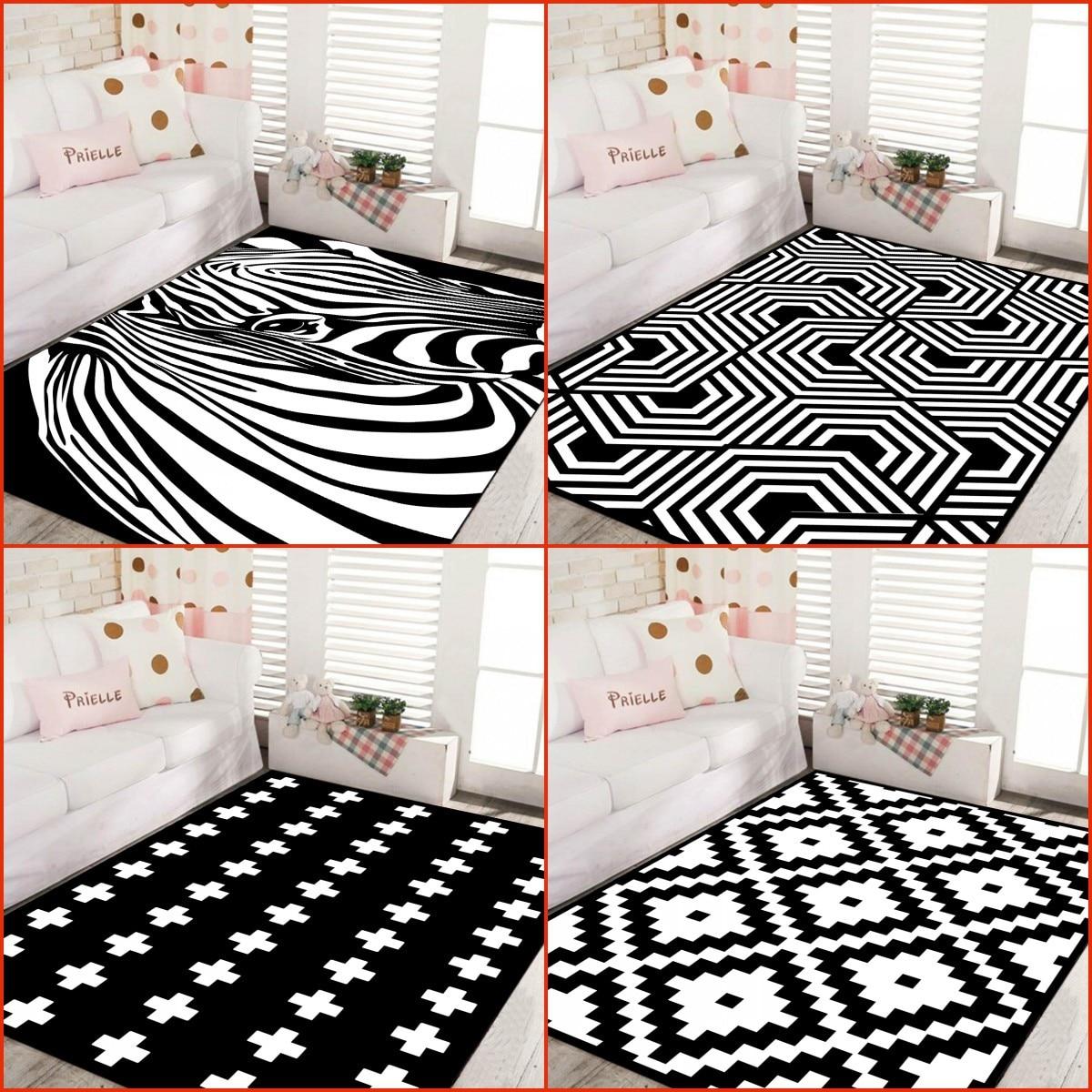 Zeegle Zebra Design Carpets For Living Room Non-slip Floor Mat Kids Room Bedroom Carpets Bedside Rugs Office Chair Floor Mats