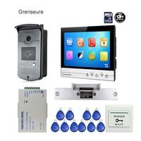 Free Shipping 9 Color Screen UI Display Video Door Phone Intercom Recording System RFID Access Doorbell