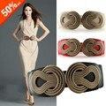 Torção Flor do vintage Cinto Elástico PU Cintos Largos Cintos de Moda Para As Mulheres