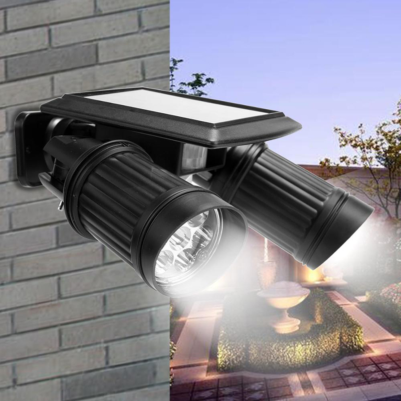 New Solar Powered Lights With Motion Sensor Lamp Dual Head Spotlight Led Solar Lamps 14LEDs Wall Light Yard Garden Auto On/OFF