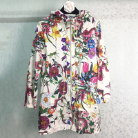 WRD06167 Women Runway Jacket Coat Cotton Summer Jacket Women 2017 Floral Print Jackets With With Hood