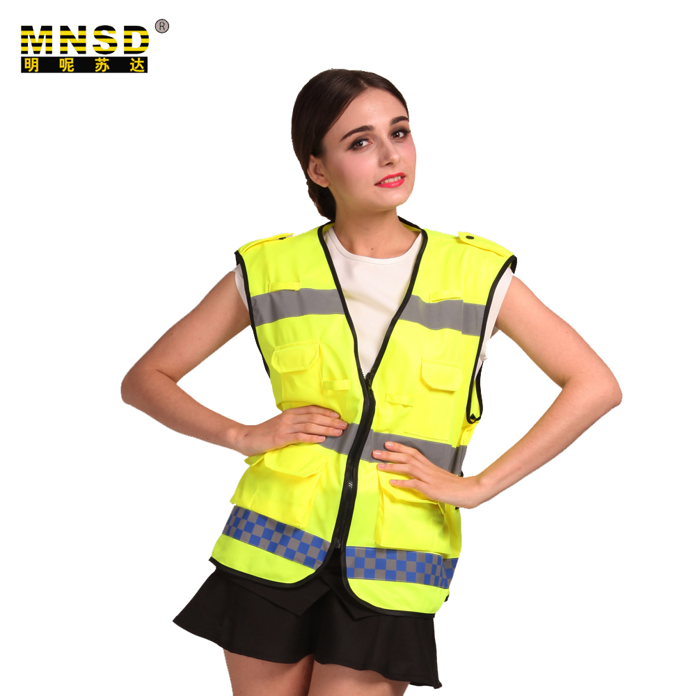Mnsd Work Clothes Yellow Safety Vest Pockets Reflectante
