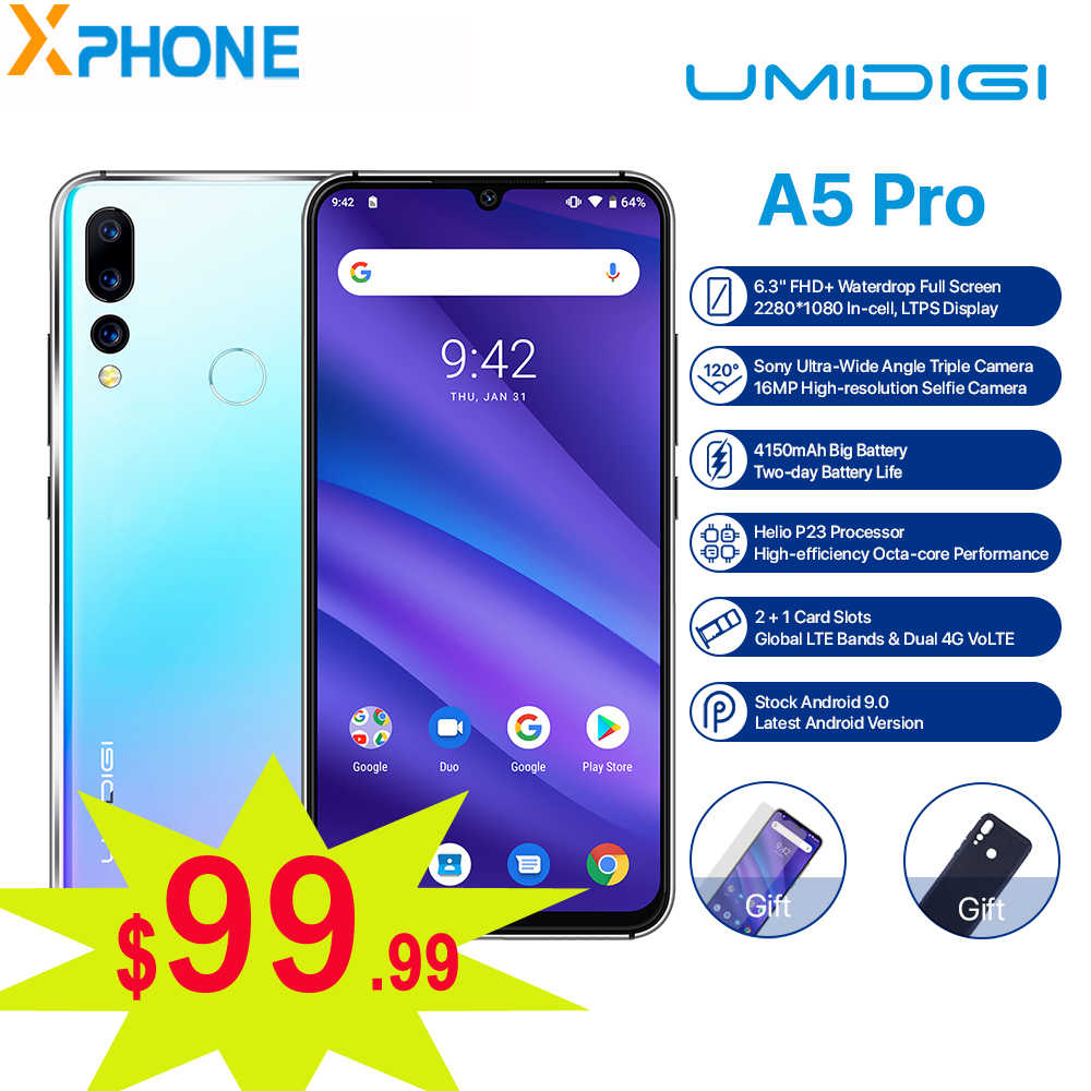 UMIDIGI A5 PRO Android 9 0 Cell Phone Octa Core 4GB RAM 32GB 6 3 FHD