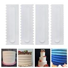 New Cake Decorating Comb 4 Pcs/set Scraper Smoother Cream Pastry Icing Fondant Spatulas Baking Tools