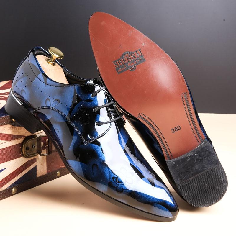 Business-Shoes British Camouflage Plus-Size Men's Patent Male Lace-Up Autumn Fashion
