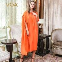 VOA плюс Размеры халат шелковый Абая для мусульман, Дубай Кафтан платье хиджаб Ислам ic Костюмы Ислам оранжевый турецкий Для женщин Moslim Jurken