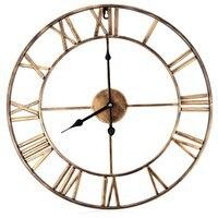 18.5 Inch 3D Large Iron Retro Decorative Wall Clock Big Art Gear Roman Numerals Wall Clocks Design The Clock On The Wall