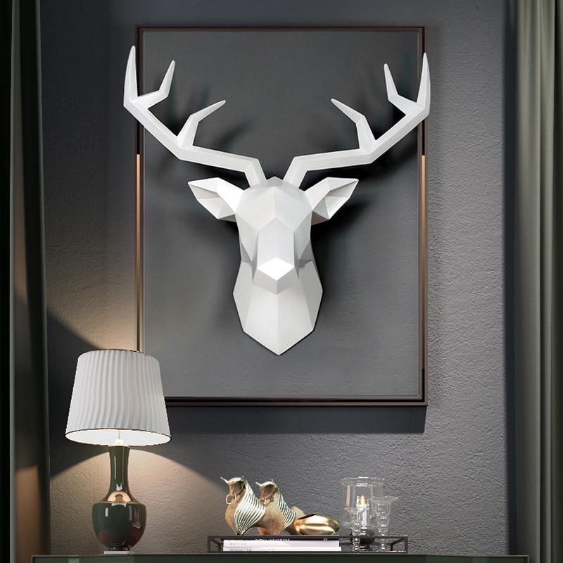 3D Deer HEAD ประติมากรรมตกแต่งอุปกรณ์เสริมเรขาคณิตกวางบทคัดย่อประติมากรรมตกแต่งผนังกวางเรซิ่นร...