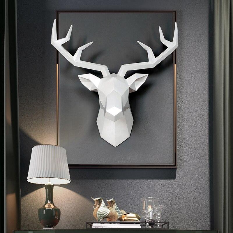 3D geyik kafası heykel ev dekorasyon aksesuarları geometrik geyik kafası soyut heykel oda duvar dekoru reçine geyik kafası heykeli