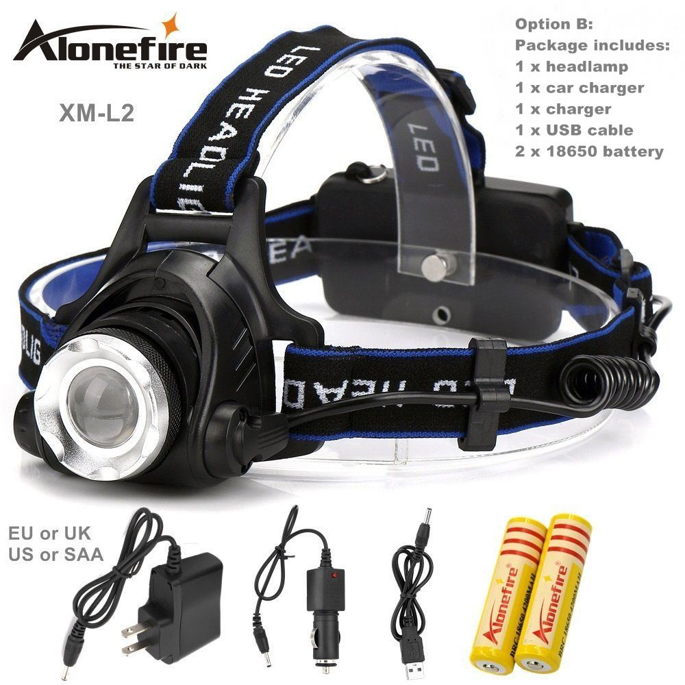 AloneFire HP79 CREE XM-L2 LED 3800LM High powe Rechargeable Headlight Headlamp light for 18650 Battery+AC Charger+USB charger