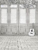 ヴィンテージ木製ドアの写真撮影の背景レンガ床デジタルプリント白い花ギター子供写真撮影の背