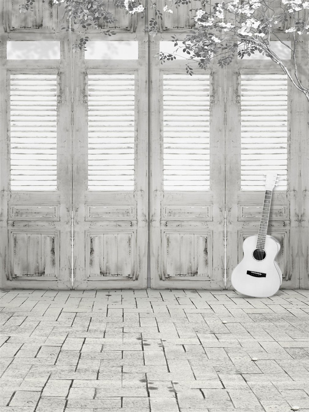 Vintage Wooden Doors Photography Backdrop Brick Floor