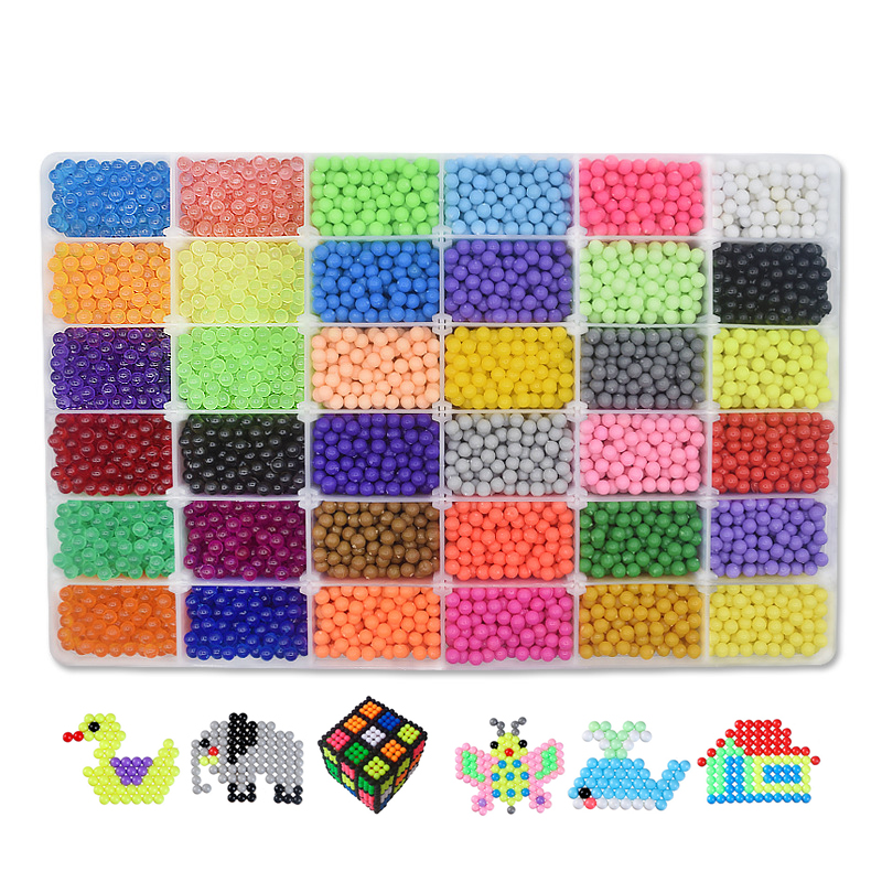 все цены на Super !!! 36 Colors Aqua Beads Full set Puzzles Kids Toys Gift ChristmasHama Beads Perler Beads Aquabeads Perlen 3d Puzzle онлайн