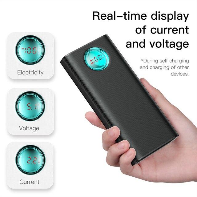 Baseus 20000 mAh batterie externe Pour iPhone Samsung Huawei Type C PD Rapide De Charge + charge rapide 3.0 USB 2