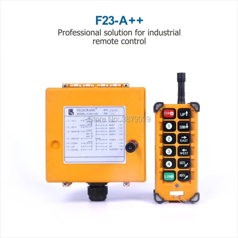 TELECRANE Industrial Wireless Radio Single Speed 10 Buttons F23-A++ Remote Control (1 Transmitter+1 Receiver) for Crane telecrane industrial wireless radio single speed 8 buttons f21 e1b remote control 1 transmitter 1 receiver for crane