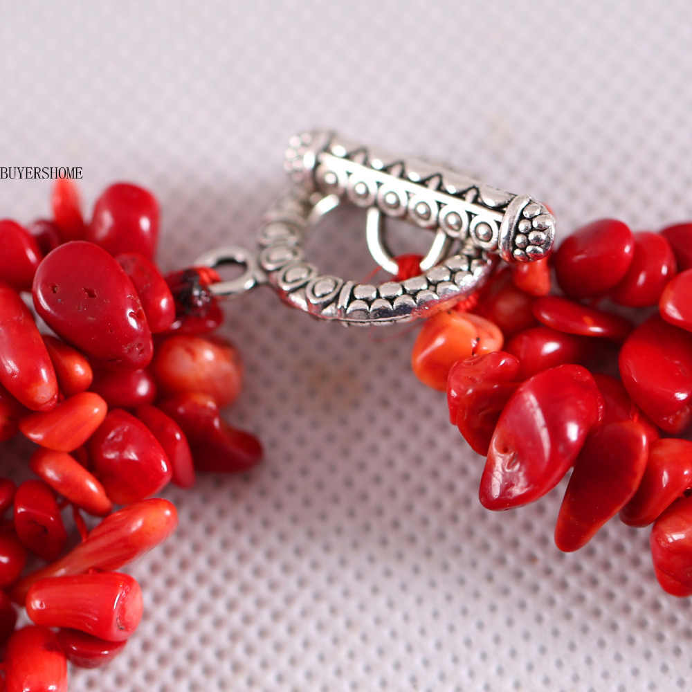 """Free Shipping Jewelry 4X8MM Natural  Red Sea Coral Chip Beads Nylon Line Weave Necklace 18"""" 1Pcs E033"""
