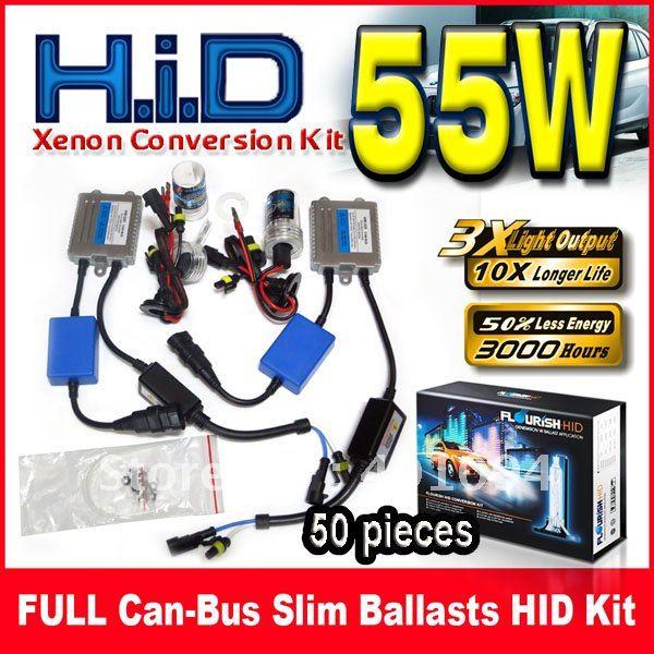 ФОТО 50 Sets 12V 55W FULL Can-bus Ultra Slim Ballasts HID Xenon Conversion Kits Silver Single Beam H1 H3 H4 H7 H8 9004 9005 9006 9007