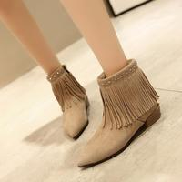 Ankle Boots For Women Winter Boots Women Suede Pointed Toe Fringe Low Heel Boots Girls Autumn