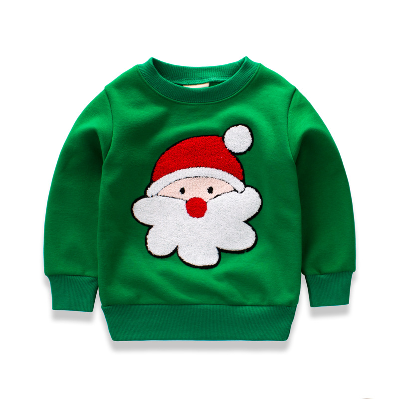 Baby Boys Sweatshirts Long Sleeve green Christmas Children T shirts Cotton Girls Pullover Tops 2017 Kids Infant Tees Clothes