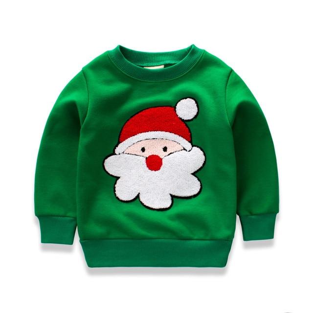 Толстовки для маленьких мальчиков с длинным рукавом зеленый Новогодние Товары Дети футболки хлопок Обувь для девочек пуловер Топы корректирующие 2017 Дети младенческой футболки