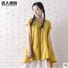 The summer of 2016, product release, the original design loose big yards 100% linen asymmetric short sleeve shirt