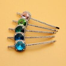 1 Pair Luxury Round Pink Crystal Hair Barrette Elegant Rhinestone Clip Diamante Hairpin For Chic Women Girls Accessories Jewelry luxury rhinestone flower round hairpin for women