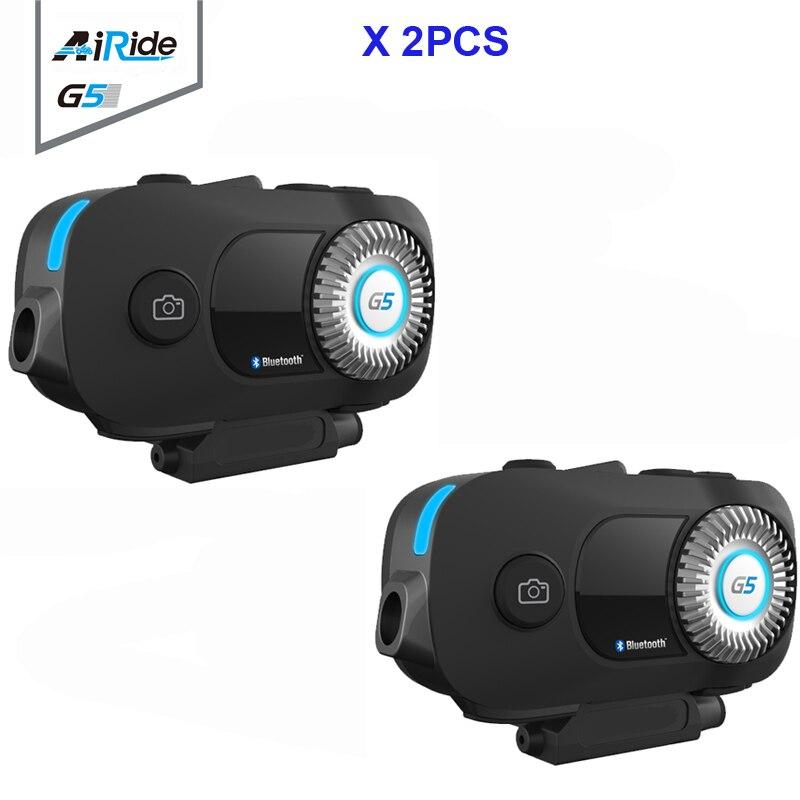 2PCS AiRide G5Pro 500m 4 Riders Group Intercom MP3 HD 1080P Video Recorder Camera Motorcycle Bluetooth Intercom Helmet Headset